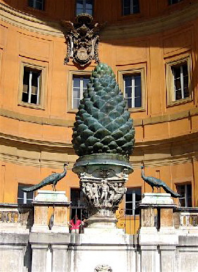 vatican pine cone, occult pine cone symbolism, pine cone statue, pine cone meaning